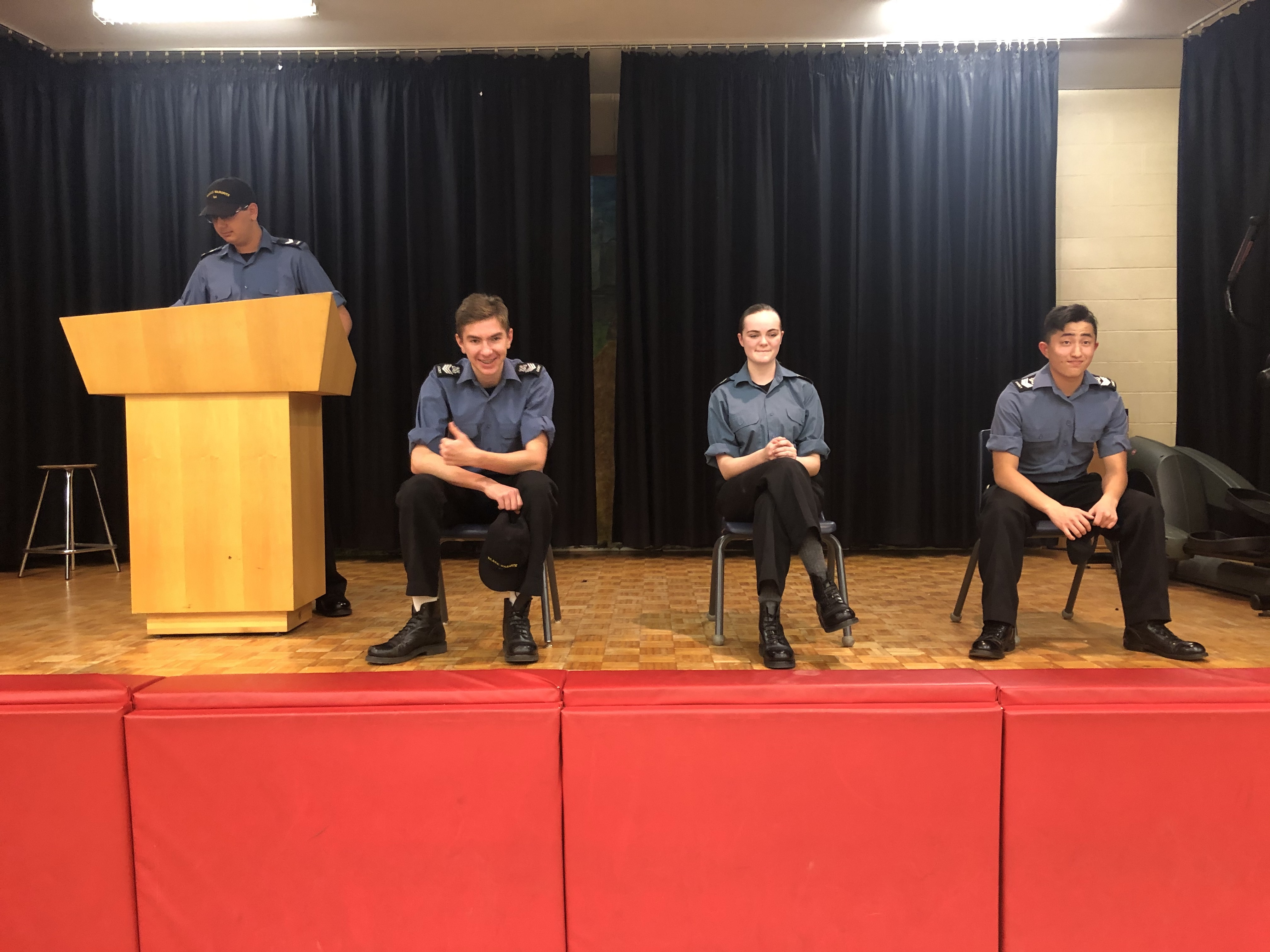 RCSCC Warspite cadets participate in debates over what they would change the sea cadet uniform too